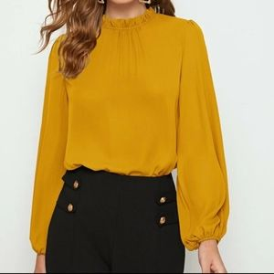 SHEIN frilled neck bishop blouse in mustard